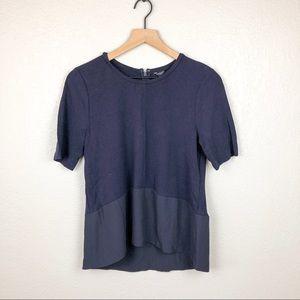 NWT Ann Taylor Navy Fabric Panel Tshirt Blouse